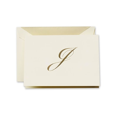 Crane & Co™ Hand Engraved Ecru Initial Note With Envelope, Gold Script J