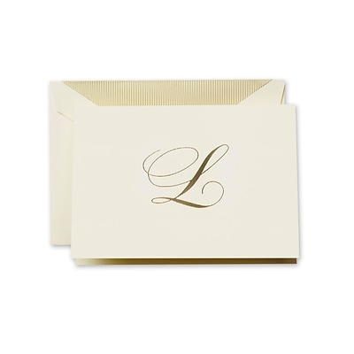 Crane & Co™ Hand Engraved Ecru Initial Note With Envelope, Gold Script L