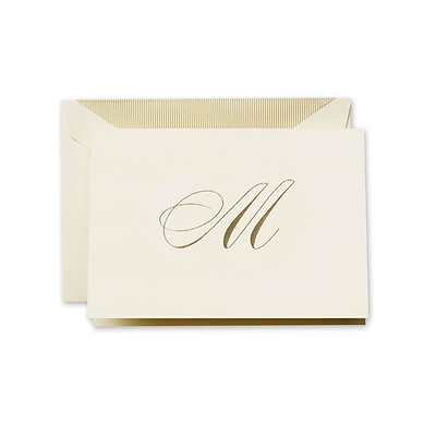 Crane & Co™ Hand Engraved Ecru Initial Note With Envelope, Gold Script M