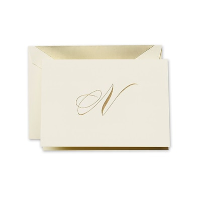 Crane & Co™ Hand Engraved Ecru Initial Note With Envelope, Gold Script N
