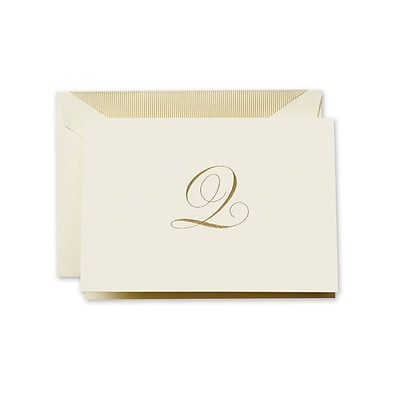 Crane & Co™ Hand Engraved Ecru Initial Note With Envelope, Gold Script Q