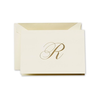 Crane & Co™ Hand Engraved Ecru Initial Note With Envelope, Gold Script R