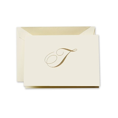 Crane & Co™ Hand Engraved Ecru Initial Note With Envelope, Gold Script T
