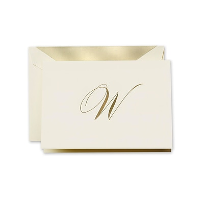Crane & Co™ Hand Engraved Ecru Initial Note With Envelope, Gold Script W