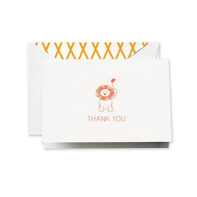 Crane & Co™ Pearl White Thank You Note With Envelope, Clementine Lion