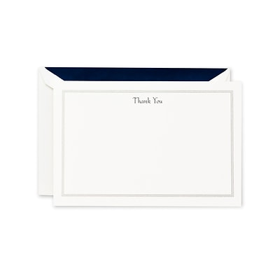 Crane & Co™ Pearl White Triple Hairline Thank You Card With Envelope, Navy Blue