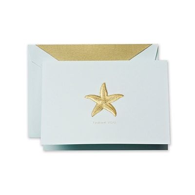 Crane & Co™ Hand Engraved Beach Glass Thank You Note With Envelope, Gold Starfish