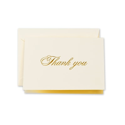 Crane & Co™ Ecru Thank You Note With Envelope, Gold Script