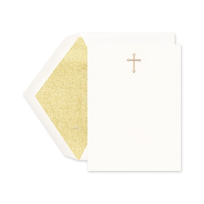Crane & Co™ Hand Engraved Pearl White Imprintable Invitation Card With Envelope, Gold Cross