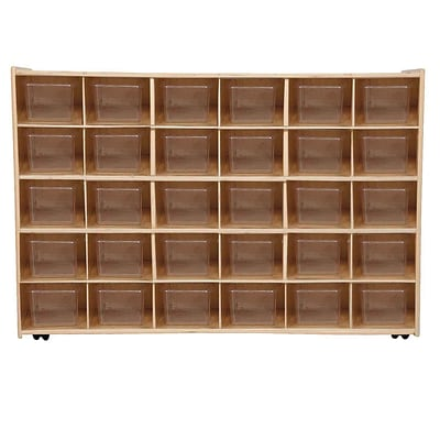 Wood Designs Contender Assembled 30 Tray Storage W/30 Translucent Trays and Casters, Baltic Birch