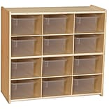 Wood Designs Contender 27 1/4H Assembled 12 Cubby Storage Unit With Clear Tubs, Baltic Birch