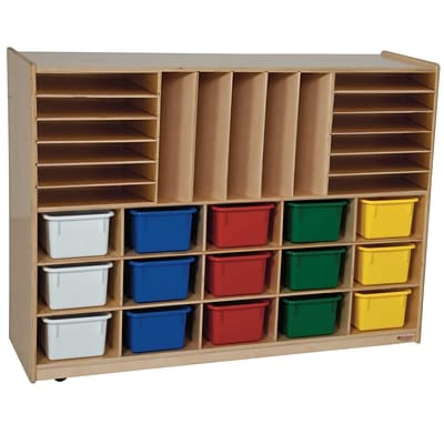 Wood Designs Multi-Storage With 15 Assorted Trays, Birch