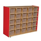 Wood Designs Cubby Storage Cabinet With 25 Translucent Trays, Strawberry Red