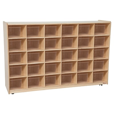 Wood Designs Cubby Storage Cabinet With 30 Translucent Trays, Birch