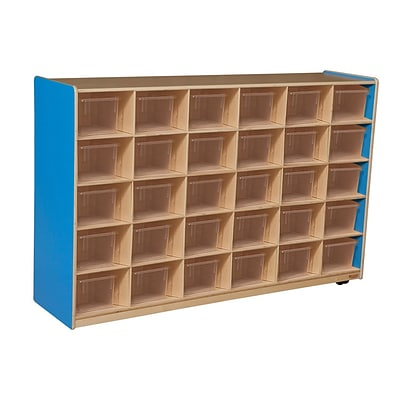 Wood Designs Cubby Storage Cabinet With 30 Translucent Trays, Blueberry