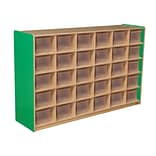 Wood Designs Cubby Storage Cabinet With 30 Translucent Trays, Green Apple