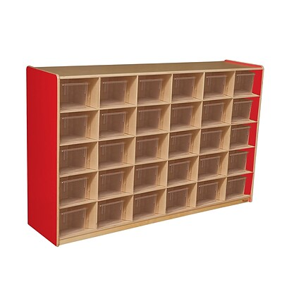 Wood Designs Cubby Storage Cabinet With 30 Translucent Trays, Strawberry Red
