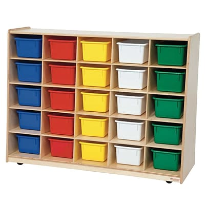 Wood Designs Tip-Me-Not 30H Cubby Storage Unit With 25 Assorted Trays, Birch
