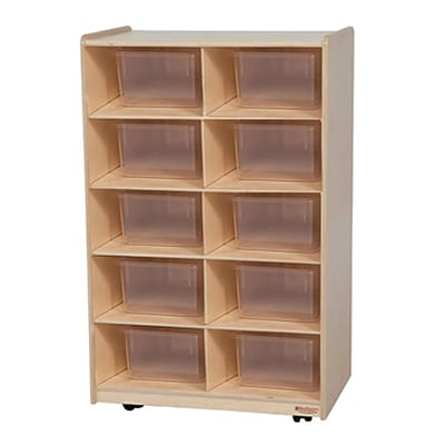 Wood Designs Vertical Storage With Ten Translucent Trays, Birch