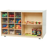 Wood Designs Shelving Storage With 12 Clear Trays, Birch