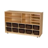 Wood Designs Shelving Storage With 12 Brown Trays, Birch