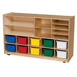 Wood Designs Shelving Storage With 12 Assorted Trays, Birch