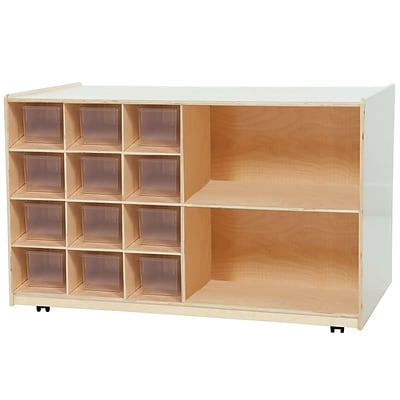 Wood Designs Double Mobile Storage With 12 Translucent Trays, Birch