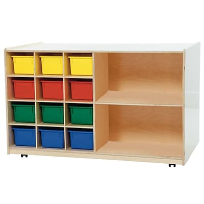 Wood Designs Double Mobile Storage With 12 Assorted Trays, Birch