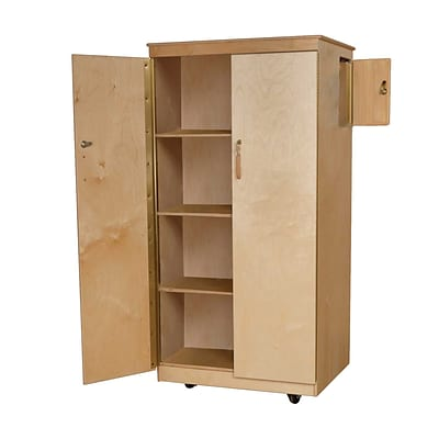 Wood Designs Teachers Lock-It Up Cabinet With 4 Large Storage Shelves, Birch
