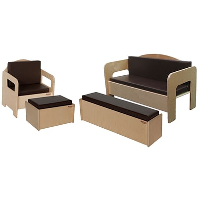 Wood Designs Childrens Furniture With Brown Cushions, 4 Piece/Set