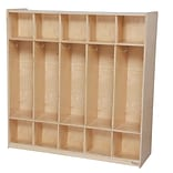 Wood Designs 48W Ten Section Double-Sided Locker, Natural Wood
