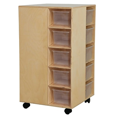 Wood Designs Cubby Spinner With Translucent Trays, Birch
