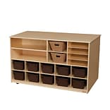 Wood Designs Storage Versatile Storage With 10 Brown Trays, Birch