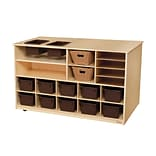 Wood Designs 30H Mobile Storage Island With Brown Trays, Birch