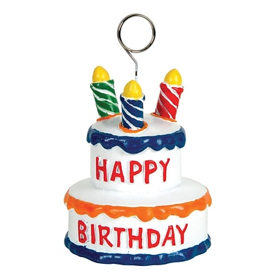 Beistle 3 1/2 x 2 3/4 Birthday Cake Photo/Balloon Holder; 3/Pack