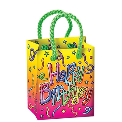Beistle 2 1/2 x 3 1/4 x 1 3/4 Birthday Mini Gift Bag Party Favors; 28/Pack