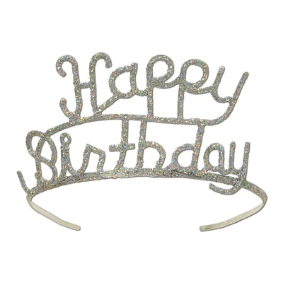 Beistle Glittered Metal Happy Birthday Tiara; Silver