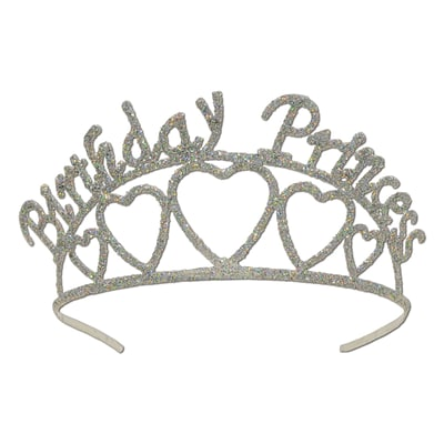Beistle Glittered Metal Birthday Princess Tiara; Silver