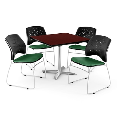 OFM 36 Square Flip-Top Mahogany Table With 4 Chairs, Forest Green