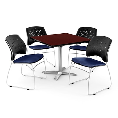 OFM 42 Square Flip-Top Mahogany Table With 4 Chairs, Navy