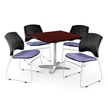 OFM 36 Square Flip-Top Mahogany Table With 4 Chairs, Lavender