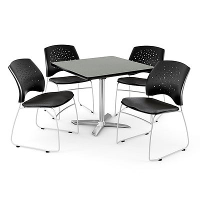 OFM 36 Square Flip-Top Gray Nebula Table With 4 Chairs, Black