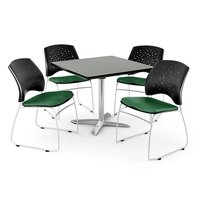 OFM 42 Square Flip-Top Gray Nebula Table With 4 Chairs, Forest Green