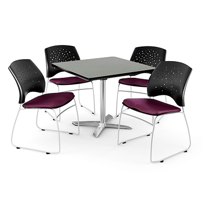 OFM 42 Square Flip-Top Gray Nebula Table With 4 Chairs, Burgundy
