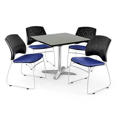 OFM 36 Square Flip-Top Gray Nebula Table With 4 Chairs, Royal Blue