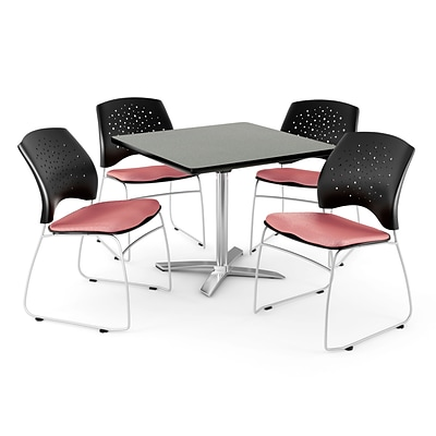 OFM 36 Square Flip-Top Gray Nebula Table With 4 Chairs, Coral Pink