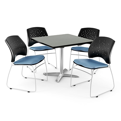 OFM 42 Square Flip-Top Gray Nebula Table With 4 Chairs, Cornflower Blue