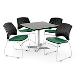 OFM 42 Square Flip-Top Gray Nebula Table With 4 Chairs, Shamrock Green
