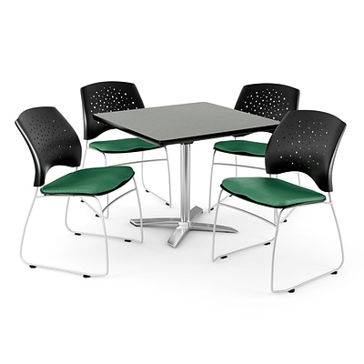 OFM 36 Square Flip-Top Gray Nebula Table With 4 Chairs, Shamrock Green