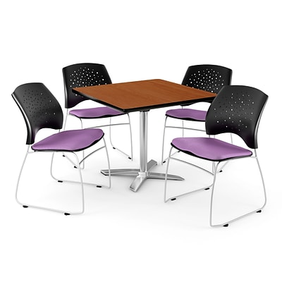 OFM 36 Square Flip-Top Cherry Table With 4 Chairs, Plum